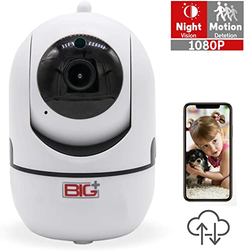 BIG WiFi FHD 1080P Pet Camera with Night Vision, 2-Way Audio and app, Motion Detection, Pan Tilt, 355-degree. Smart IP Home Camera, Multiuse for Baby, Dog, Cat, Elderly Monitor.