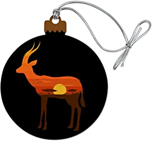 GRAPHICS & MORE Gazelle Orange Sky Africa Acacia Wood Christmas Tree Holiday Ornament
