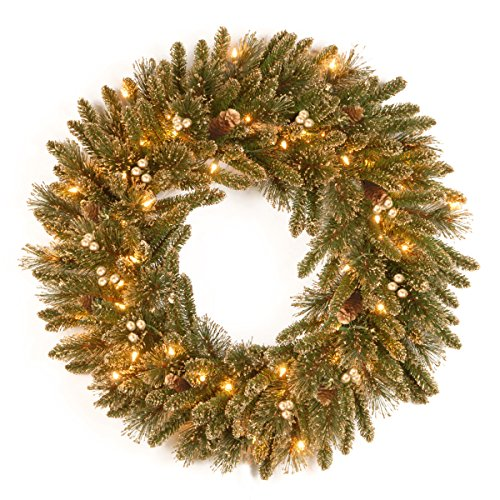 National Tree 30 Inch Glittery Pine Gold Wreath with 50 Clear Lights (Gold Pine Wreaths)