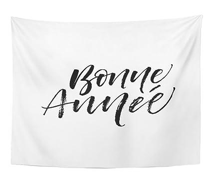 Amazon.com: Emvency Tapestry Bonne Annee Happy New Year Phrase in ...