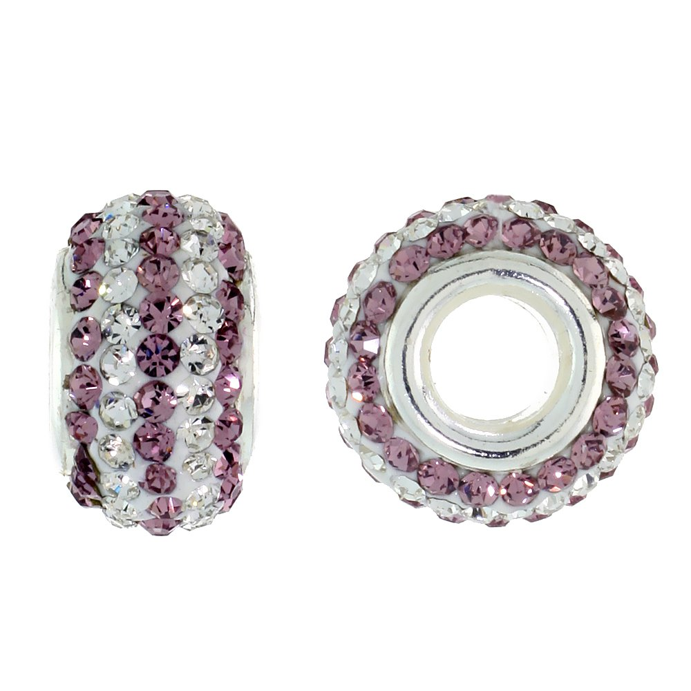 Sterling Silver Crystal Charm Bead White & Lavender Color Charm Bracelet Compatible, 13 mm