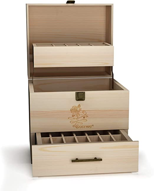 COSTWAY Caja de Aceites Organizador Esenciales para 59 Botellas Caja de Almacenamiento de Madera Soporte de Exhibición: Amazon.es: Hogar