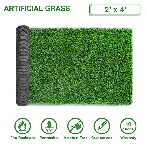 LITA Premium Artificial Grass 2 x 4 (8 Square Feet) Realistic Fake Grass Deluxe Turf Synthetic Turf Thick Lawn Pet Turf -Perfect indoor/outdoor Landscape - Customized