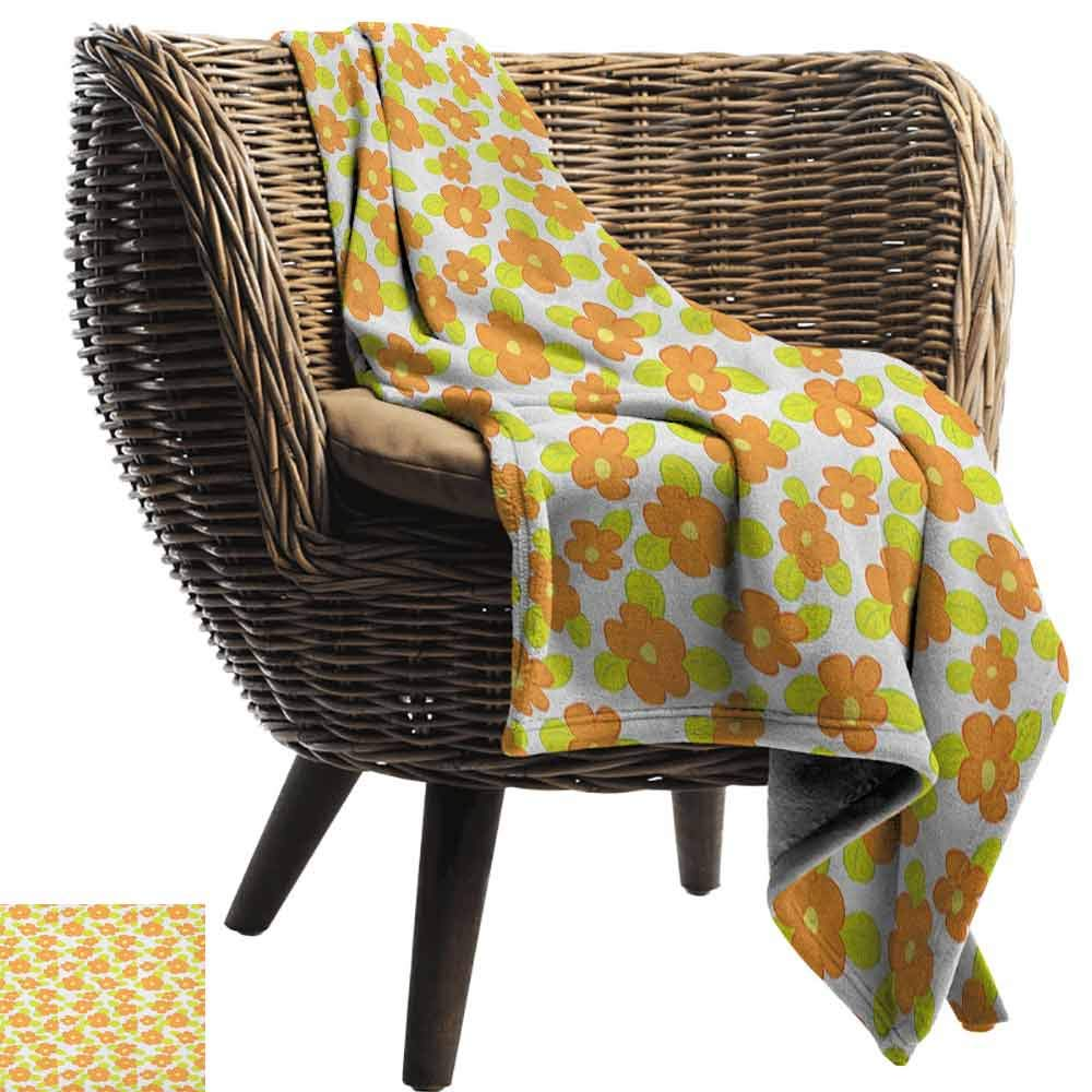 Orange Soft Blanket Microfiber,Kids Theme Cute Girlish Pattern with Doodle Flowers and Green Leaves Microfiber All Season Blanket for Bed or Couch,60'' Wx70 L Orange Apple Green Yellow by Custom&blanket (Image #2)