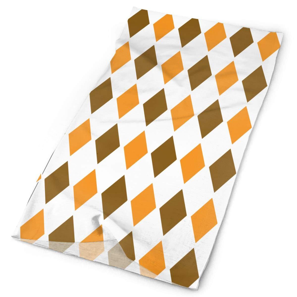 Brown Orange Vintage Diamond Pattern Unisex Fashion Quick-Drying Microfiber Headdress Outdoor Magic Scarf Neck Neck Scarf Hooded Scarf Super Soft Handle