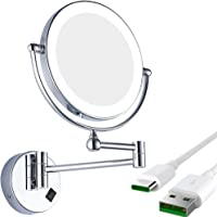 GURUN Wall Mounted Led Lighted Makeup Mirror With Two-Sided Swivel, Plug Powered M1805Do