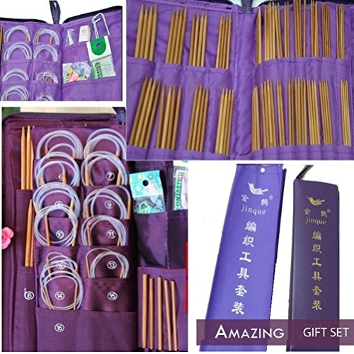 Targarian 166 pcs Set of Bamboo Crochet/Knitting Carbonized Hooks 25cm,36cm,80cm (2-5mm) with Accessories and case
