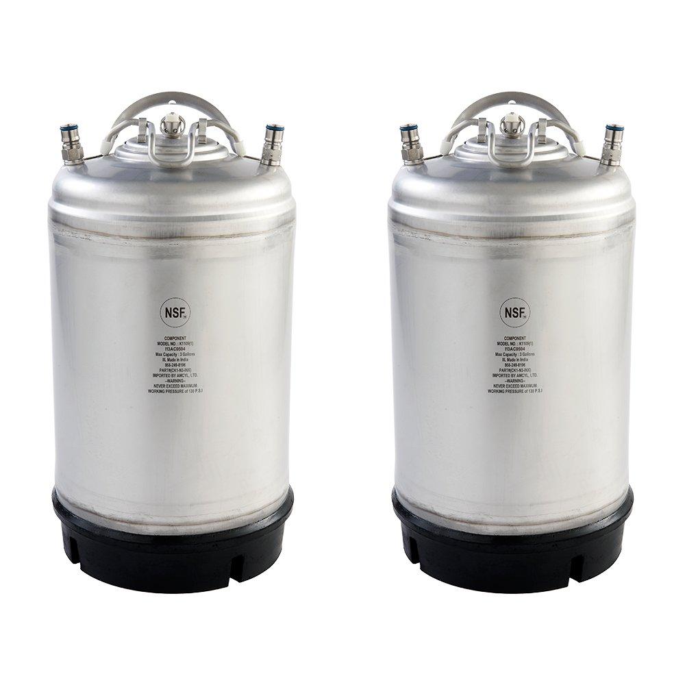 Two New 3 Gallon Ball Lock Kegs - Single Handle + Free O-Ring Kit