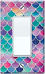 WIRESTER Single Gang Decorator Light Switch Plate/Wall Plate Cover - Pink Blue Pastel Mermaid Scales