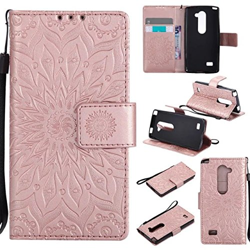 Abtory LG Leon C40 Case, Flip [Flower] Kickstand Case with Card Holder & Folding Stand Magnetic Protective Phone Case Cover for LG Leon C40 Rose Gold