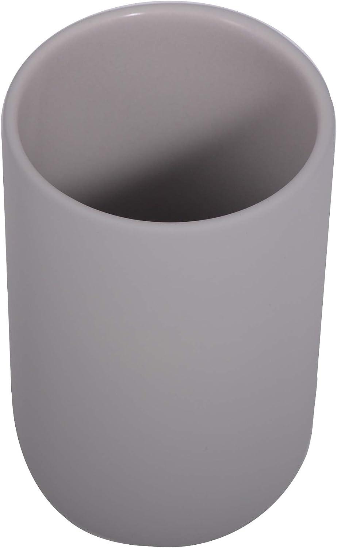 houseproud Combo Zahnputzbecher hellgrau aus beschichteter Keramik und Akazienholz