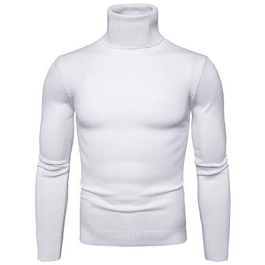ZhuiKun Pull col Roulé Homme Manches Longues Sweat Chandails en Maille  Blanc S 5f8d6469eb53