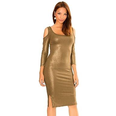 340fba449f2 Miss Wear Line - Robe doré mi Longue Brillant et épaule dénudé ...