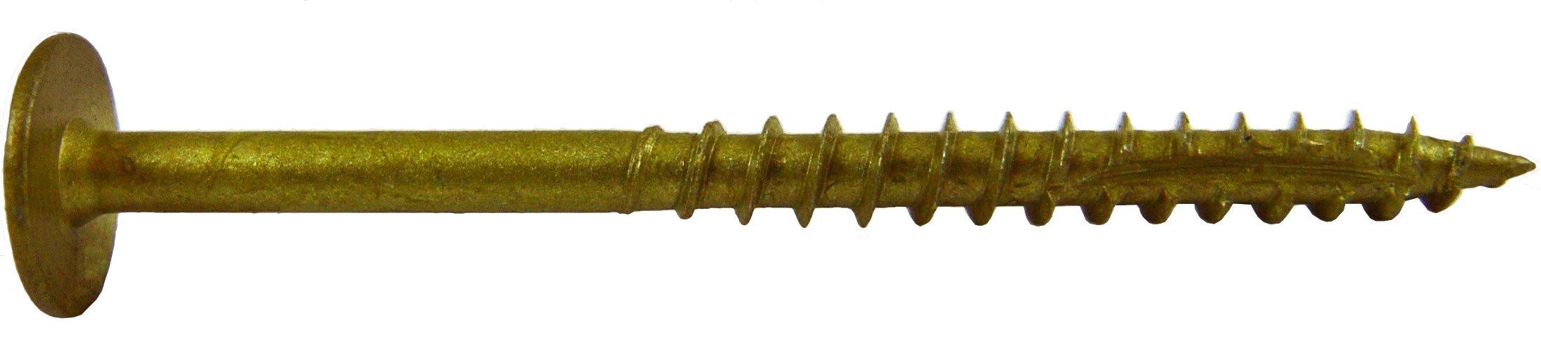 #7 x 1-5/8'' Bronze Star Exterior Coated Modified Truss Head - WHITE HEAD Cabinet Wood Screw Torx/Star Drive Head (1 pound) - Multipurpose Exterior Coated Torx/Star Drive Wood Screws
