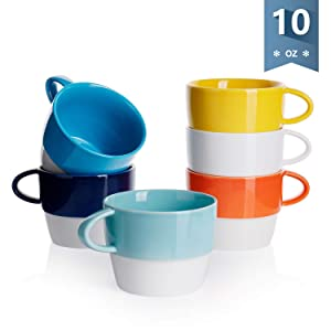 Sweese 407.002 Porcelain Latte Cups - Stackable Coffee Cups - 10 Ounce for Specialty Coffee Drinks, Cappuccino, Cafe Mocha and Tea - Set of 6 - Hot Assorted Colors