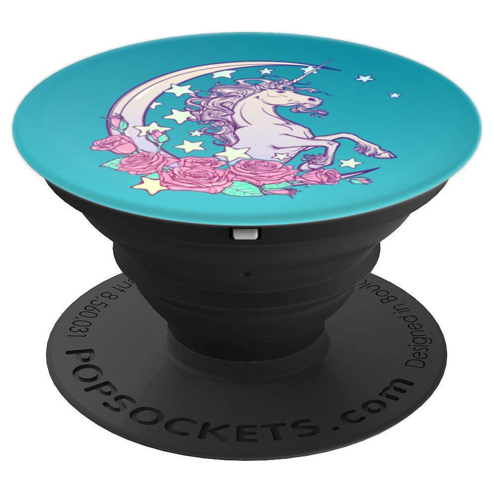 Beautiful Unicorn Dazzle Stars Roses Crescent Moon - PopSockets Grip and Stand for Phones and Tablets