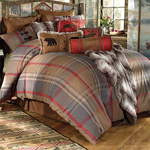 BLACK FOREST DECOR Mountain Trail Plaid Moose & Bear Bed Set - Queen