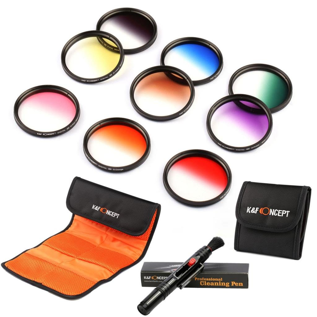 72mm Graduated Colour Filter Kit, K&F Concept 9 PCS Graduated Colour Filter Kit (Orange Blue Grey Red Purple Green Brown Yellow Pink) + Cleaning Pen + 3 Slot Filter Bag + 6 Slot Filter Bag Cleaning Pen For Canon Rebel T5i (700D) T4i (650D) T3 (1100D) T3i (