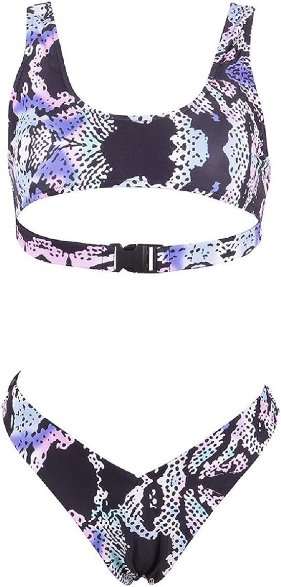 Ducomi Icy Costumi Donna Mare Due Pezzi Costume da Bagno Top Triangolo Push Up Imbottito con Spalline Trasparenti e Mutanda Brasiliana a Vita Alta Estate alla Moda Bikini Super Sexy