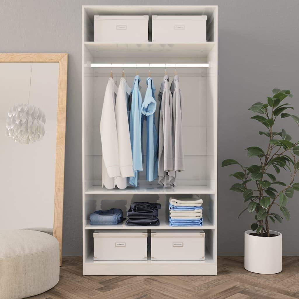 Tidyard Garde-Robe pour Adulte//Armoire Chambre en Agglom/ér/é Blanc 50 x 50 x 200 cm-3 Petits Compartiments 1 Grand Compartiment avec Tringle