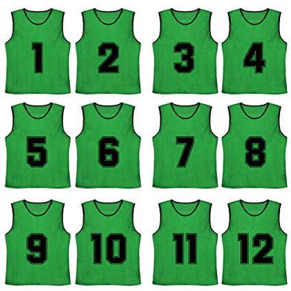 96113edbb3b TOPTIE Numbered Blank Scrimmage Team Practice Mesh Jerseys Vests Pinnies (12 -Pack)