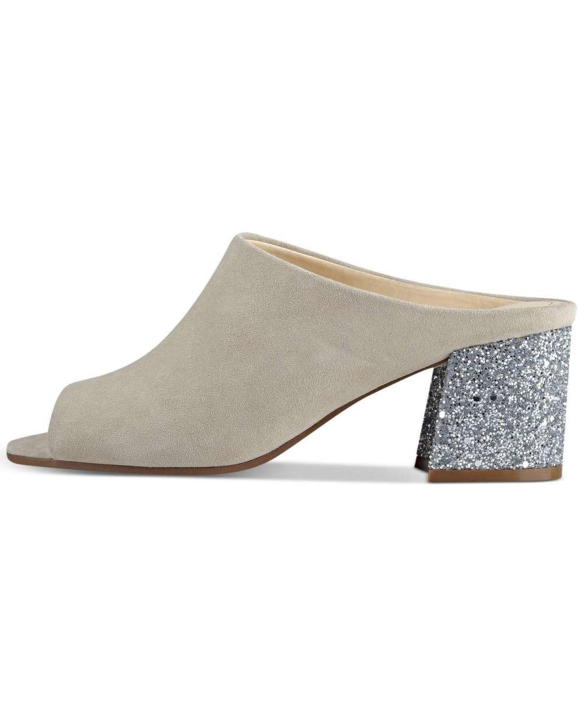 Ivanka Trump Womens Evia4 Leather Peep Toe Mules, Beige, Size 8.5