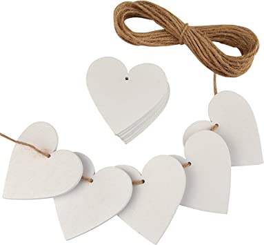 1 x white wooden hanging rustic heart with hearts valentine day wedding