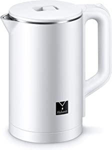 Yabano Electric Kettle Double Wall Kettle with 100% Stainless Steel Interior Fast Water Boiler, Hot Water Kettle for Coffee and Tea Water Heater Auto Shut-Off, White