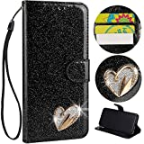 Stysen Wallet Case for Galaxy S8,Glitter Leather Case for Galaxy S8,Glitter Gold Love Heart ShapeWrist Strap Flip Case Cover for Samsung Galaxy S8-Love Heart,Black