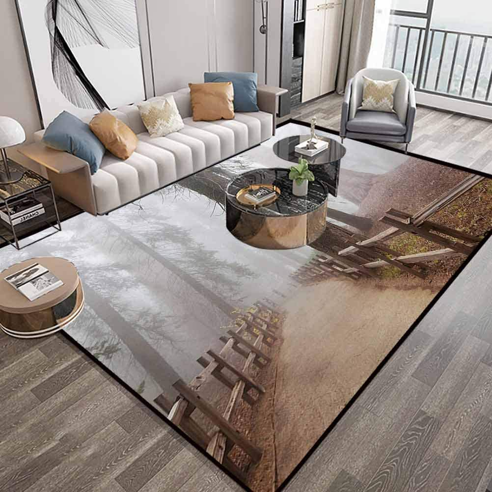 Yosemite Area Rug 4X6 Feet,Evergreen Forest and Walkway in Sequoia National Park Foggy Morning Nature Art,Washable Floor Carpet with Lock-Edge & Non-Slip Bottom,Grey Brown