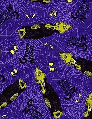 1 Yard Spooktacular Dr. Seuss by Robert Kaufman Grinch Night 100% Cotton Fabric ADE-15303-282 (Dr Seuss Halloween Grinch Night)