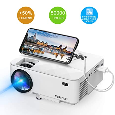 Mini Projector, TOPVISION 2018 Upgraded Portable Projector with Synchronize Smart Phone Screen, 50% Lumens Supported 1080P, 50,000 Hours Lamp Life, Compatible with HDMI/VGA/USB/TV/Box/Laptop/DVD