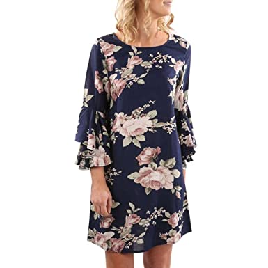 HODOD Fashion Women s Sundress Flare Sleeve Floral Printed Mini Dress Beach  Party Dress 9de696d98fbe