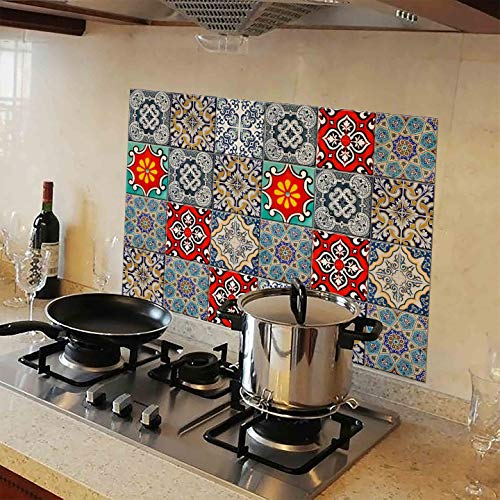 WallDesign Kitchen Protection Anti-Mark Oil Proof Easy Clean Plastic Wall Stickers Mosaic Tiles...