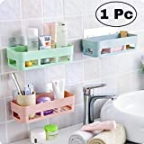 HS-STORE's Bathroom Dual Caddy/Shelves - Strong Suction Shower Caddy Bathroom Shelf Storage Organization with Rack Basket Sucker Cup for Shampoo, Conditioner (Pack of 1)