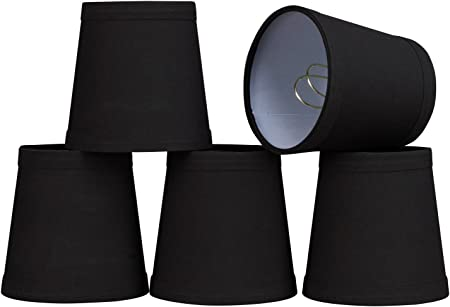 32046-5 Small Hardback Empire Shape Chandelier Clip-On Lamp Shade Set 5 Pack 3 x 4 x 4 Transitional Design in Black 4 Bottom Width