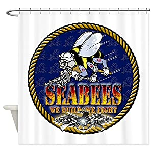 "CafePress US Navy Seabees Lava Glow Decorative Fabric Shower Curtain (69""x70"") from CafePress"