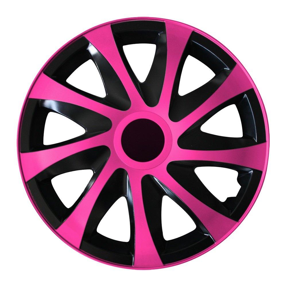 Tapacubos - Tapacubos Tapacubos QUAD Rosa 13 pulgadas 13? R13 universal apto para casi todos los vehículos estándar con llantas de acero por ejemplo Ford: ...