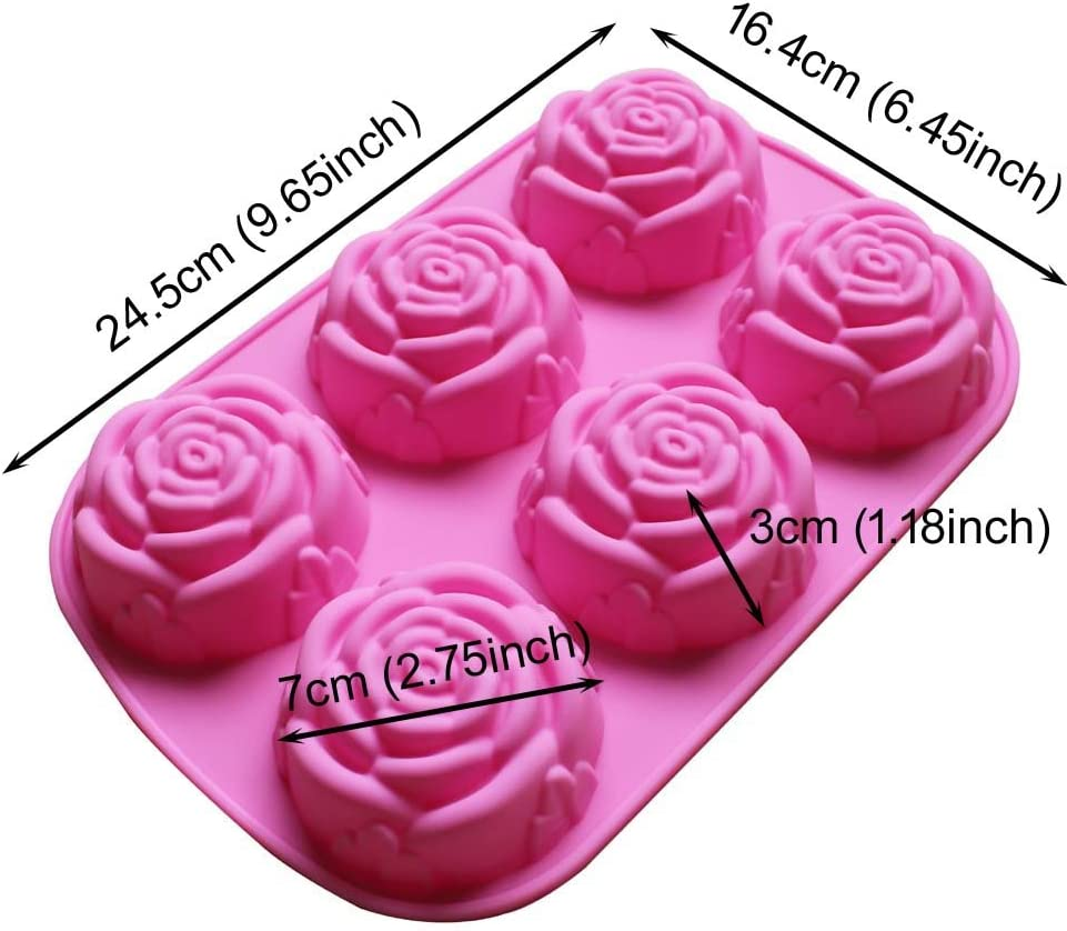 6 Rose Cavity Type 2 Rose Silicone Silicon Soap Molds Candle Making Molds Chocolate Jelly