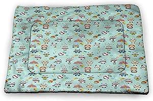 prunushome Circus Pet Crate Mat Happy Cartoon Animal in Tent Machine Washable Pet Bed Liner