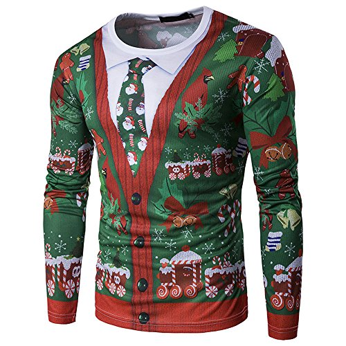PASATO Classic Men Autumn Winter Xmas Christmas Printing Top Men's Long-Sleeved T-Shirt Blouse Clearance Sale(Multicolor, M=US:S) by PASATO