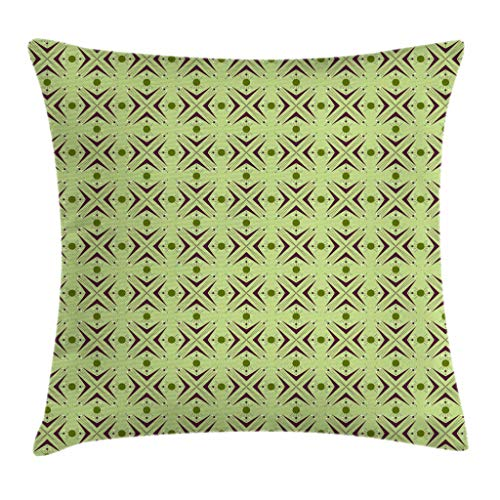 Apple Green Pillow - Ambesonne Mid Century Throw Pillow Cushion Cover, Atomic Form with Boomerang Details Dots and Crossed Lines, Decorative Square Accent Pillow Case, 16 X 16 Inches, Apple Green Plum Bondi Blue