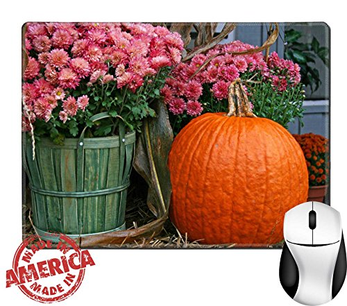 """Luxlady Natural Rubber Mouse Pad/Mat with Stitched Edges 9.8"""" x 7.9"""" IMAGE ID: 23242626 Pink chrysanthemums in a basket and a pumpkin on a hay bale on a (Fall Halloween Porch Ideas)"""