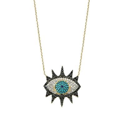 CREO BLACK EYE EVIL NECKLACE (Gold): Amazon co uk: Jewellery
