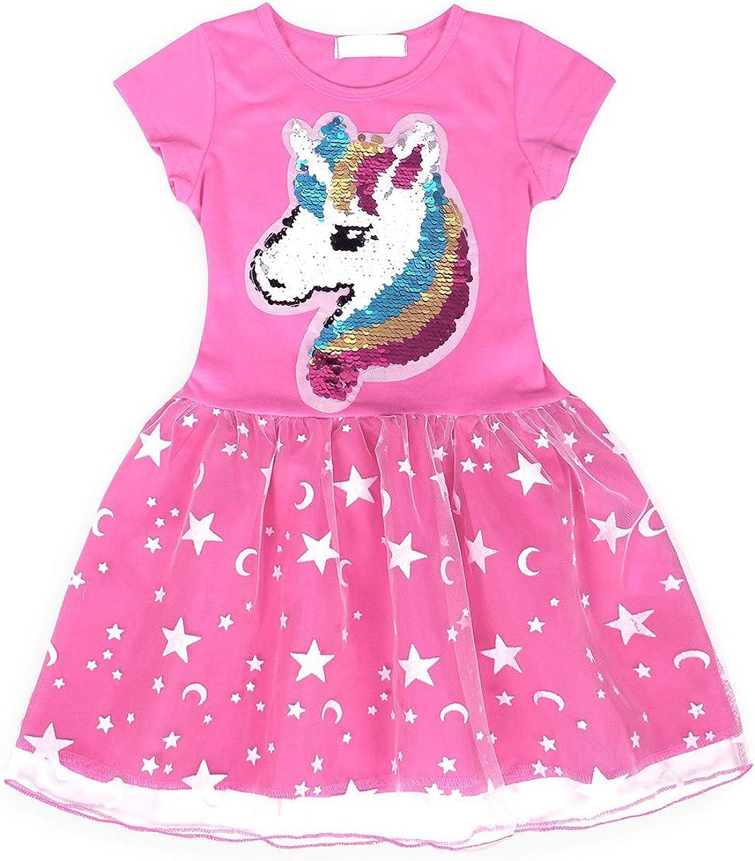 AmzBarley Unicorno Vestito da Festa Ragazza Bambina Fiore Ragazze Partito Abito con Abiti da Principessa Abito Tutu Festa Compleanno Carnevale Vestire