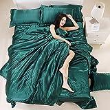 Luxury Fashion Summer Cool Silky Silk 4pcs Bedding Set 1 Duvet Cover 1 Flat Sheet 1 PillowcasesSingle^^^Blackish green^^^green