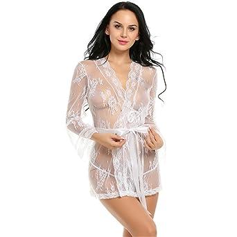Viste túnica lencería mujeres lencería erótica caliente Plus Size dormir sexo disfraces Albornoz Kimono bata blanca XXL: Amazon.es: Ropa y accesorios
