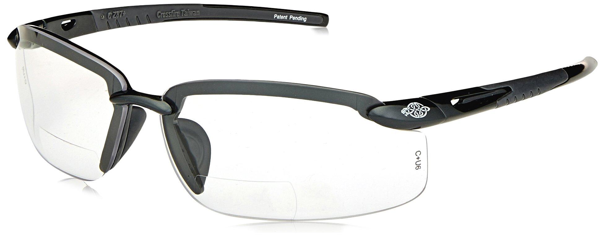 ES5 Reader Crossfire Safety Polarized Smoke Lens Diopter 2.5 Crystal Black Frame