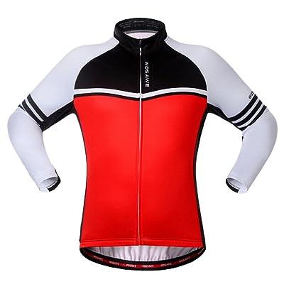 Gwell Homme Veste de Cyclisme Polaire Manches Longues Hiver Rayé Rouge