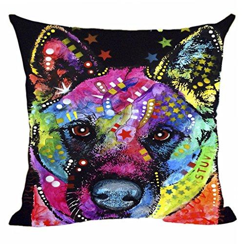 CafeTime Akita Pillow Covers Art Pet Dog Throw Pillow Case Customize Gift Decorative Canvas Pillowcases For Car Sofa Seat (Akita Christmas Gifts)